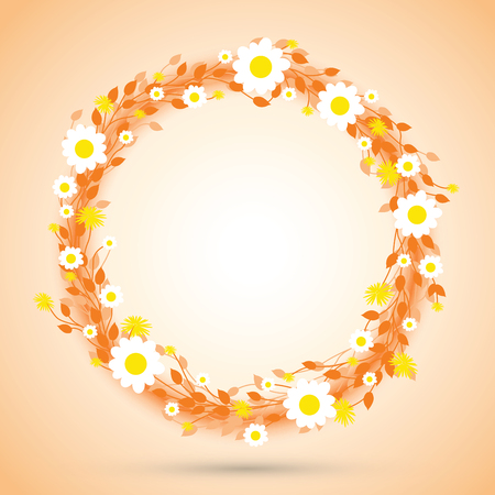 circle flower: round floral daisy pattern Illustration