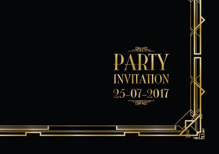 twenties: party invitation art deco background