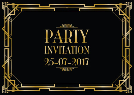 Parti invitation art déco fond Banque d'images - 58013091