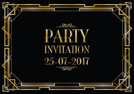 zaproszenie na przyjęcie w stylu art deco w tle Ilustracje wektorowe