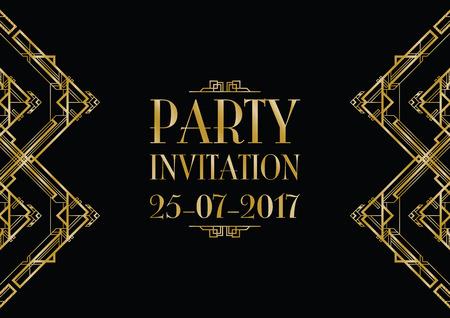 30s: party invitation art deco background