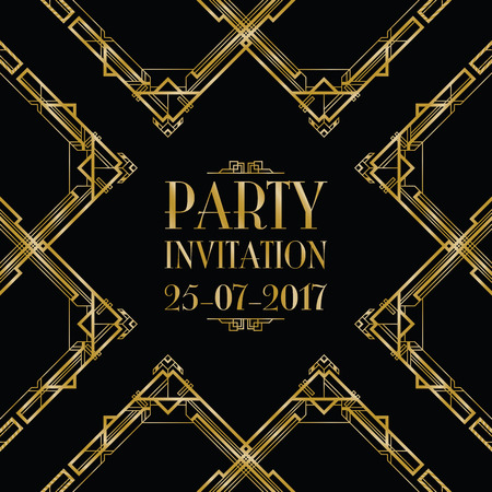 thirties: party invitation art deco background