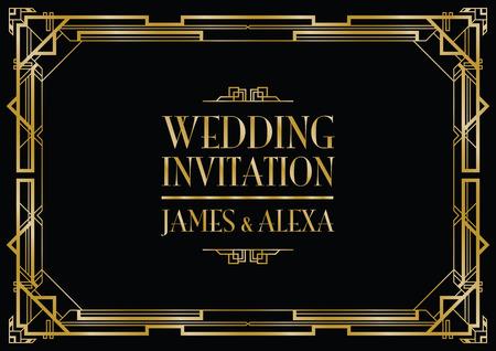 結婚式招待状アールデコ