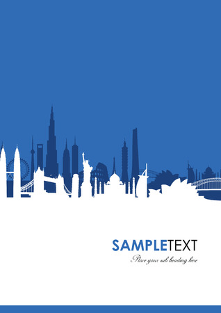 shanghai skyline: world landmark group in blue Illustration