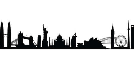 building silhouette: world landmark group in black