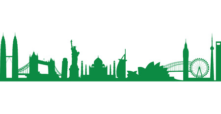 shanghai skyline: world landmark group in green Illustration