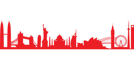 shanghai skyline: world landmark group in red