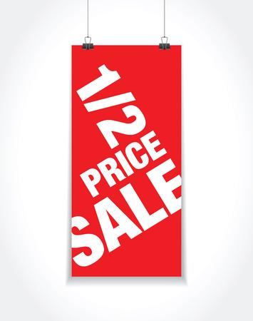 mall signs: half price sale sign Illustration