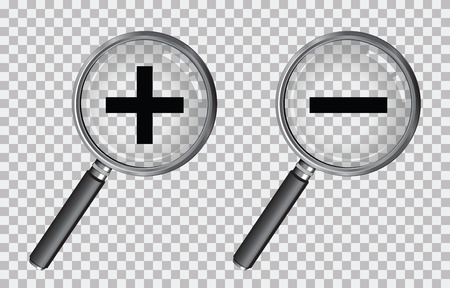 transparency: magnifying glass plus and minus