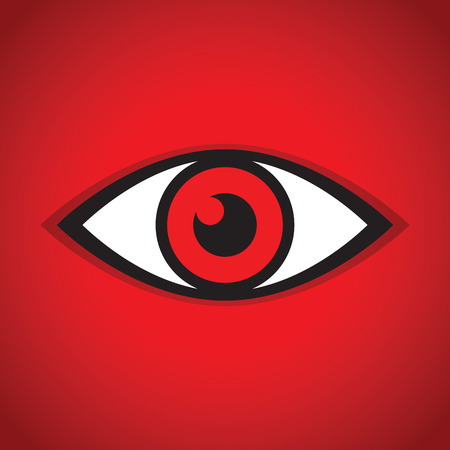 an abstract red eye icon