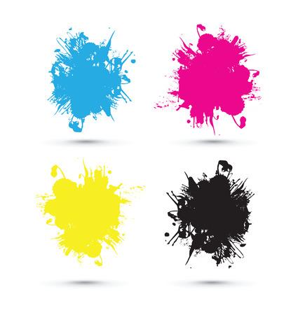 cmyk splash blobs Illustration