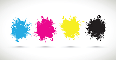 black yellow: cmyk splash blobs Illustration