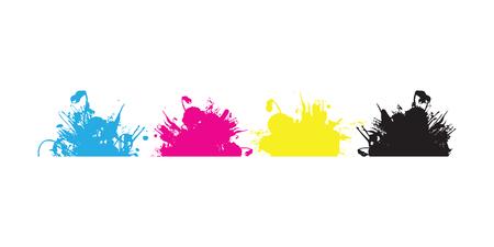 spilled paint: cmyk splash blobs Illustration