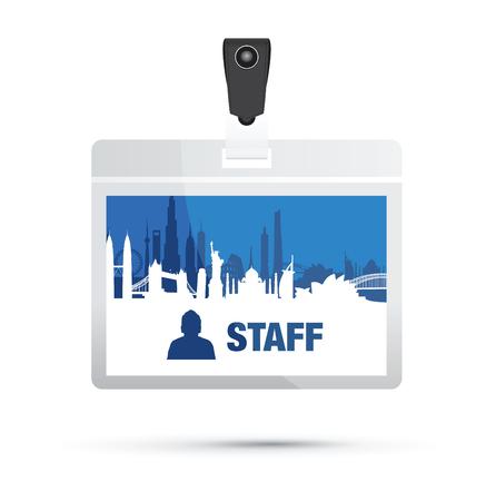 staffs: staff card cityscape