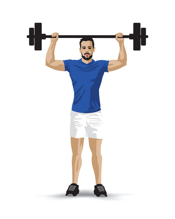 barbel: training barbel man Illustration