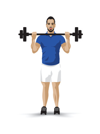 bicep curls: training barbel man Illustration