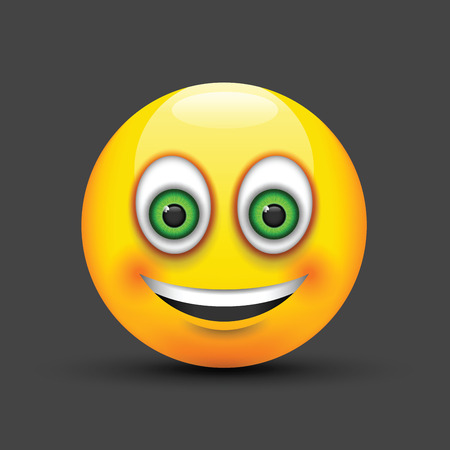 green eyes: smiling emoji big realistic green eyes