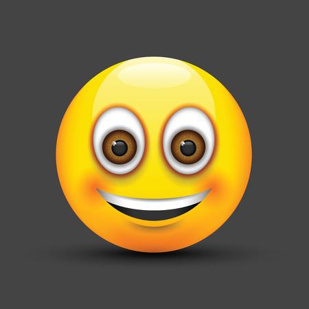 brown eyes: smiling emoji big realistic brown eyes Illustration