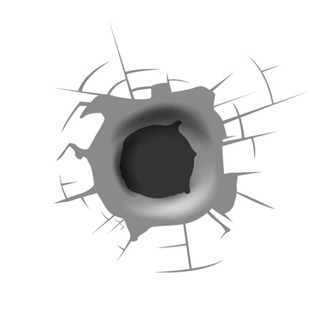 punched through: bullet hole Illustration