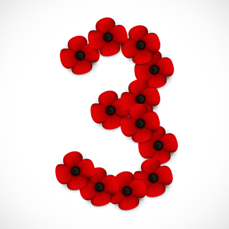 anzac: number three poppy background