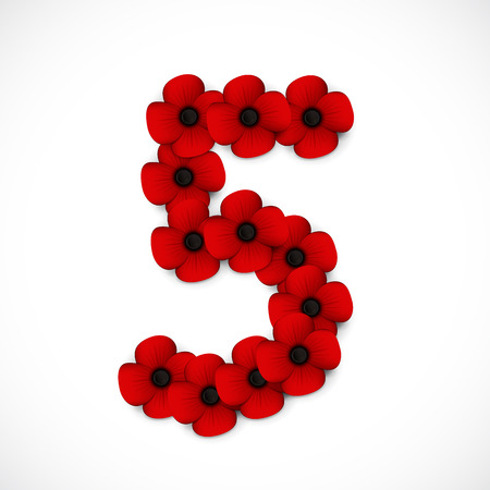 anzac: number five poppy background