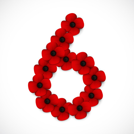anzac: number six poppy background