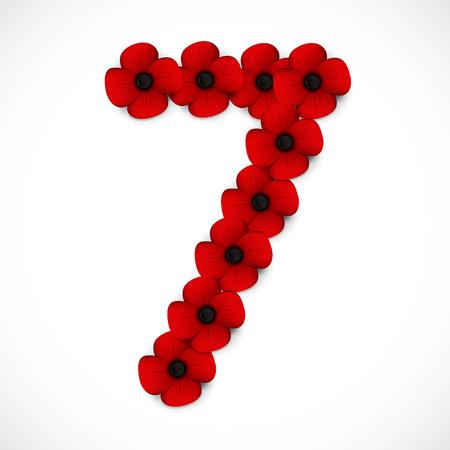 number seven: number seven poppy background
