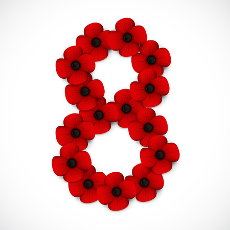 anzac: number eight poppy background