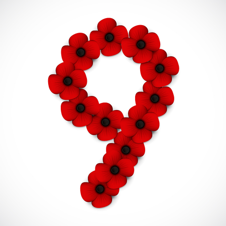 anzac: number nine poppy background