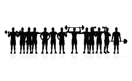 barbel: group of men Illustration