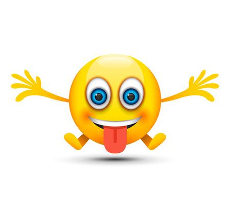 lengua afuera: la lengua fuera emoji felices Vectores