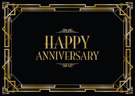 art deco: happy anniversary art deco invitation