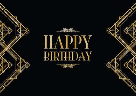 happy birthday art deco invitation Vector Illustration