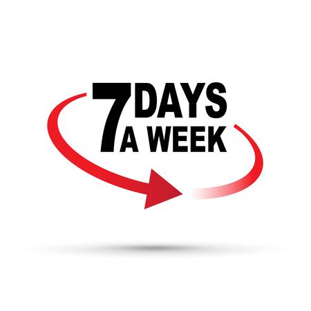 seven days a week around the clock Illustration