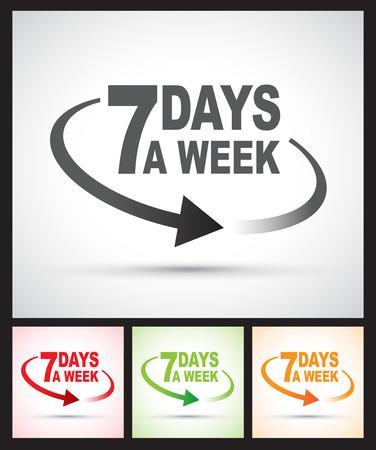 days: seven days a week around the clock Illustration