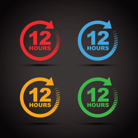 12: 12 hour icon set Illustration