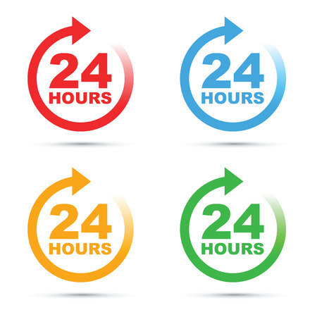 24 hour icon set Illustration