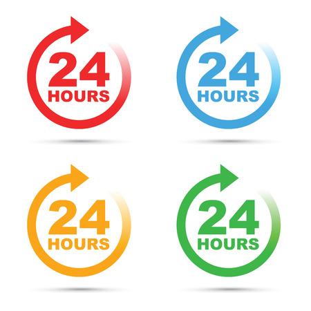 24 hour icon set Vettoriali