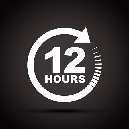 twelve: twelve hour icon Illustration
