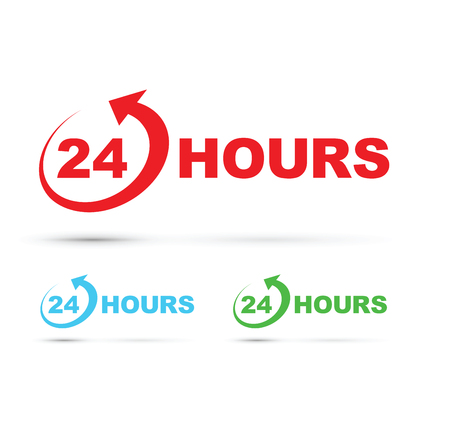 24 hour: 24 hour icon set Illustration