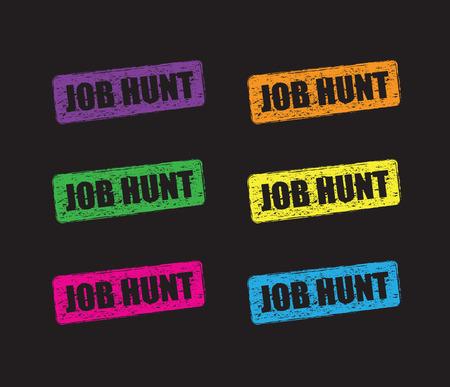 sign post: job hunt stamp set