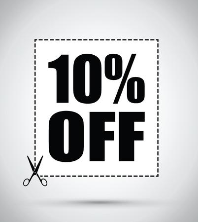 cutting sticker: Ten per cent off scissors sign Illustration