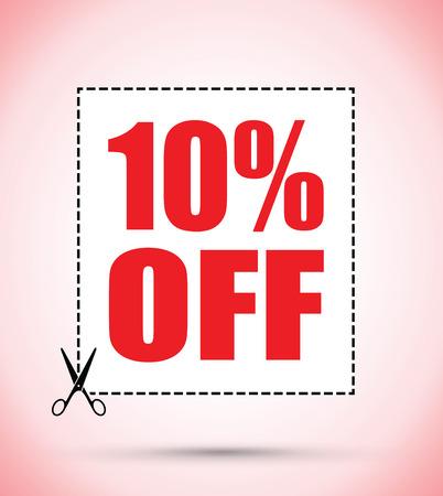 cut off: Ten per cent off scissors sign Illustration