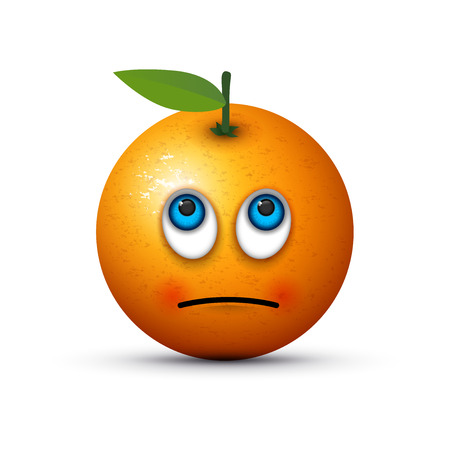 frutas divertidas: naranja ojos en blanco emoji Vectores