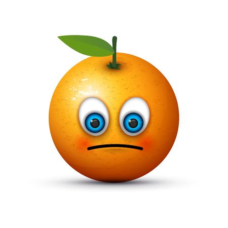 frutas divertidas: naranja emoji triste