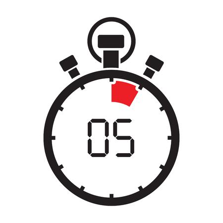 5 分停止時計カウント ダウン  イラスト・ベクター素材