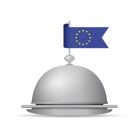 European flag dinner platter Illustration
