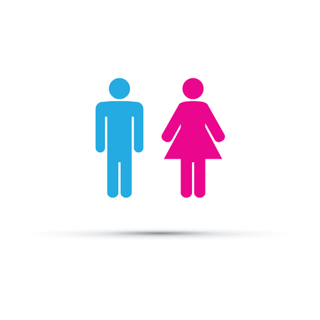 female pink: Men and women toilet sign.