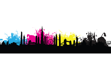 cmyk building cityscape background splash