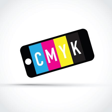 selector: Cmyk mobile phone colour selector Illustration